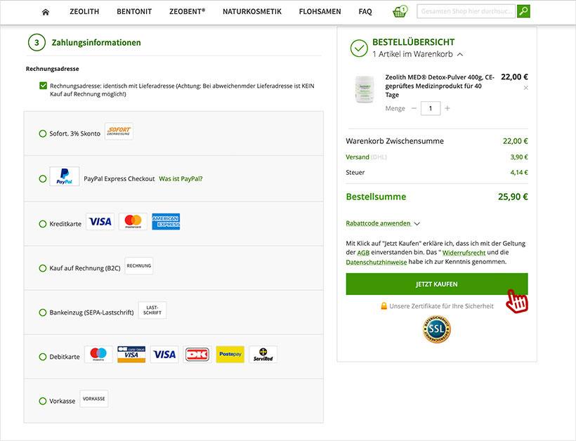 Bestellung abschließen - AGB- Widerruf - Datenschutzhinweise